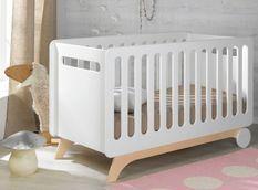 Lit bébé évolutif 70x140 cm bois blanc et bouleau clair Bonheur