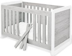 Lit bébé évolutif laqué blanc et frêne gris Curve 70x140 cm