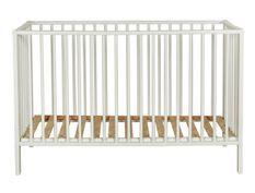 Lit bébé pliable 60x120 cm hêtre massif blanc