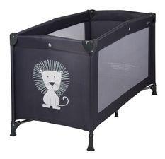 Lit bébé pliant 60x120 cm polyéthylène noir et pieds métal Lion