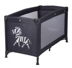 Lit bébé pliant 60x120 cm polyéthylène noir et pieds métal Zèbre