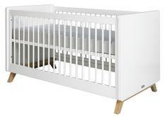 Lit bébé transformable blanc et pieds hêtre clair Lynn 70x140 cm
