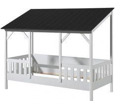 Lit cabane 90x200 cm pin massif blanc toit noir Mila