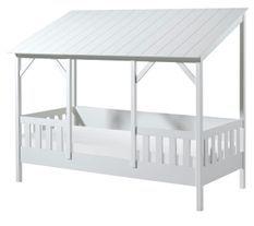 Lit cabane 90x200 cm pin massif toit blanc Mila