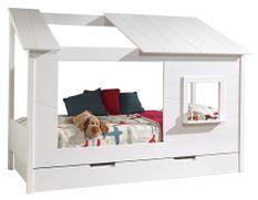 Lit cabane à tiroir avec fenêtre pin massif blanc Housebed 90x200 cm
