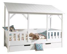 Lit cabane à tiroir pin massif blanc Housebed 90x200 cm