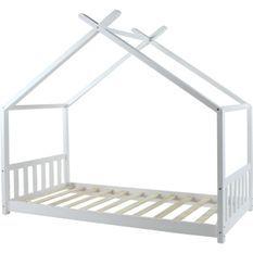 Lit cabane bois massif blanc Linone 90x190 cm