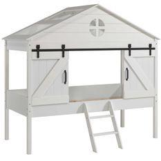 Lit cabane et sommier 90x200 cm bois laqué blanc Beker