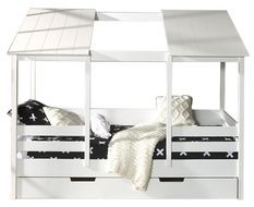 Lit cabane gigogne 90x200 cm pin massif blanc Remis