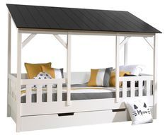 Lit cabane gigogne 90x200 cm pin massif blanc toit noir Henri