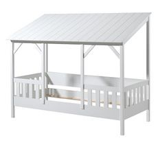 Lit cabane gigogne 90x200 cm pin massif toit blanc Henri