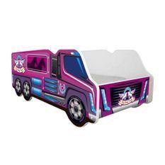 Lit camion chevaux mélaminé rose 70x140 cm