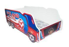 Lit camion équipe pologne mélaminé rouge et bleu 70x140 cm