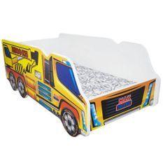 Lit camion grue mélaminé jaune 70x140 cm