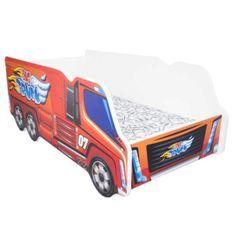 Lit camion poids lourd mélaminé rouge 70x140 cm