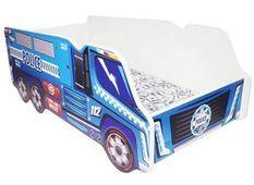 Lit camion police mélaminé bleu 70x140 cm