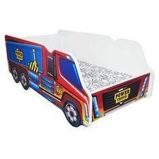 Lit camion power truck mélaminé rouge et bleu 70x140 cm