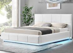 Lit capitonné similicuir blanc avec coffre de rangement et led Belo 180x200 cm
