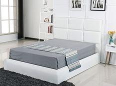 Lit capitonné similicuir blanc avec coffre Pegus 140x190 cm