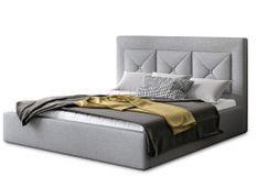 Lit design 140x200 cm tissu gris clair Clarin