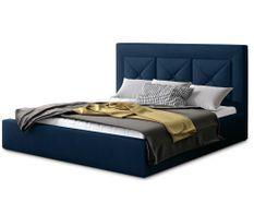 Lit design 140x200 cm velours bleu foncé Clarin