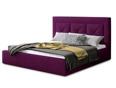 Lit design 140x200 cm velours bordeaux Clarin