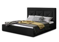 Lit design 140x200 cm velours noir Clarin