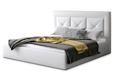 Lit design 160x200 cm simili cuir blanc Clarin