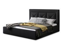 Lit design 160x200 cm simili cuir noir Clarin