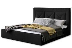 Lit design 180x200 cm tissu noir Clarin