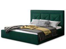 Lit design 180x200 cm velours vert foncé Clarin