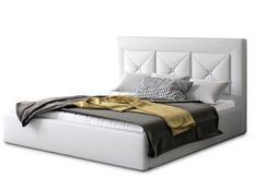 Lit design 200x200 cm simili cuir blanc Clarin