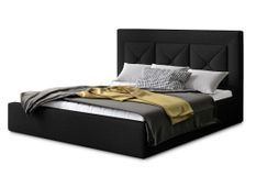 Lit design 200x200 cm tissu noir Clarin