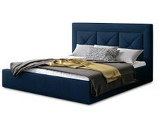 Lit design 200x200 cm velours bleu foncé Clarin