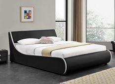 Lit coffre 140 x 190 cm simili cuir gris mat liseré blanc Asora