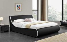 Lit coffre 140x190 cm simili cuir noir mat liseré blanc Asora