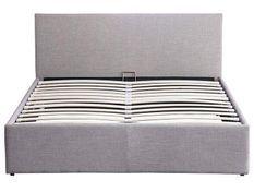 Lit coffre 140x190 cm tissu gris clair avec coffre et sommier à lattes Lina