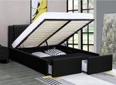 Lit coffre 2 tiroirs simili cuir noir Jorn 160x200 cm