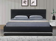 Lit coffre à Led blanc 180x200 cm simili cuir noir Star