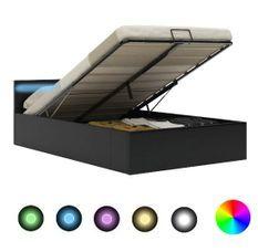 Lit coffre à LED simili cuir noir Rundi 160x200 cm
