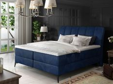 Lit coffre avec matelas velours bleu Erato 140x200 cm