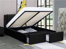 Lit coffre avec tiroirs simili cuir noir Jorn 140x190 cm