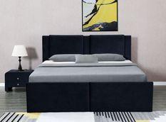 Lit coffre avec tiroirs velours noir Jorn 180x200 cm