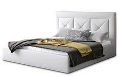 Lit coffre design 140x200 cm sommier relevable simili cuir blanc Clarin
