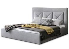 Lit coffre design 140x200 cm sommier relevable tissu gris clair Clarin