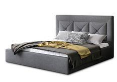 Lit coffre design 140x200 cm sommier relevable tissu gris foncé Clarin