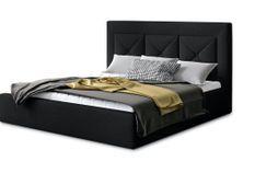 Lit coffre design 140x200 cm sommier relevable tissu noir Clarin