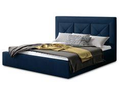Lit coffre design 140x200 cm sommier relevable velours bleu foncé Clarin