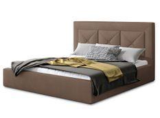 Lit coffre design 140x200 cm sommier relevable velours marron clair Clarin