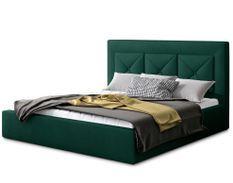 Lit coffre design 140x200 cm sommier relevable velours vert foncé Clarin